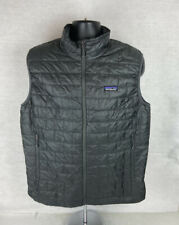 Patagonia Mens Large Nano Puff Vest Zip Full Pockets Black Polyester