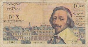 Billet 10 F Richelieu du 2-7-1959 FAY 57.02 alph. C.23