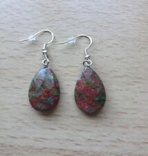 UNAKITE faceted  gemstone pendant drop  EAR RINGS St Silver Gift wrapped