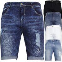 Mens Denim Chino Shorts Super STRETCH Skinny Slim Summer Half Pant Rip Jeans