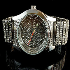 Mens Full Iced Out Bling Master Black Gold Finish Lab Diamond Wrist Metal Watch