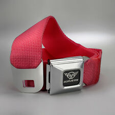 "New Women Men Corvette GM Seat Belt Buckle w C5 Logo - Large 24""-38"" (RED)"