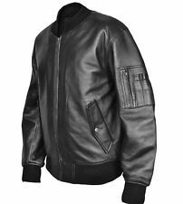 MA1 Flight Pilot Bomber Biker Leather Jacket Security Army Military US Air  Force 7f5badb87