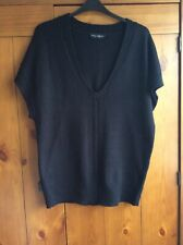 dorothy perkins 16 Black Long Jumper Top Short Sleeve
