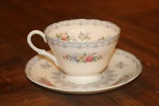 Shelly Crochet Blue Trim Cup and Saucer