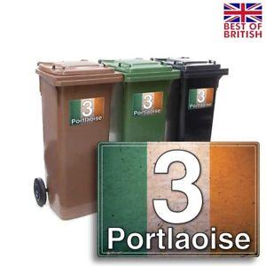 A5 [4 X Pack] - Irish Flag Block Style, Personalised Wheelie Bin Sticker / Vi...