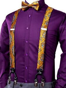 Mens Braces Bow Tie Set Gold Brown Paisley 6 Clips Heavy Duty Elastic Suspenders
