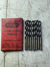Republic High Speed Drills HSS (7 Pcs) 906C Size 12 USA Made New Open Box