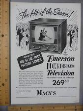 Rare Original VTG 1949 Carmen Cavallaro Emerson TV Macy's Advertising Art Print
