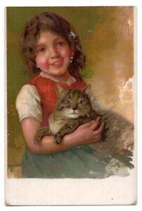 053021 VINTAGE LITTLE GIRL HOLDING GRAY TABBY CAT POSTCARD c 1906