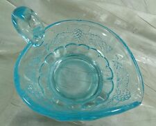 Paneled Grape Heart Shaped Handled Candy Dish Colonial Blue Glass Mint Dish NEW