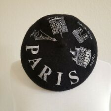 Paris Beret Cap Black Hat French Architecture France Womens 100% Wool NICE!