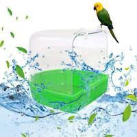 Clean Parrot Bird Bathtub Box Bird Bath Shower Standing Wash Cage Hanging New
