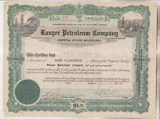 1919 STOCK CERTIFICATE - RANGER PETROLEUM COMPANY - ARIZONA