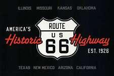 Route 66 America's Historic Highway Road Sign IL MO KS OK TX NM AZ CA - Postcard
