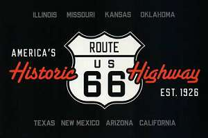 Route 66 America's Historic Highway Road Sign IL MO KS OK TX NM AZ CA - Postcard