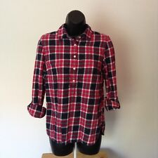 Tommy Hilfiger Juniors Small Blue Red Plaid 1/2 Button 3/4 Sleeve Top Shirt J2