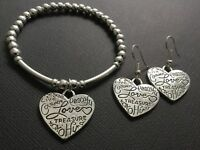 Bijoux Boho stretch beaded bracelet And Earrings with Inspirational Love Hearts