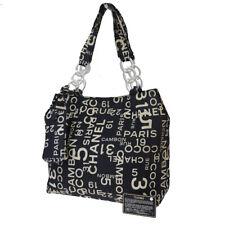 Authentic CHANEL Logo Chain Shoulder Bag Canvas Leather Black Vintage 35EY023