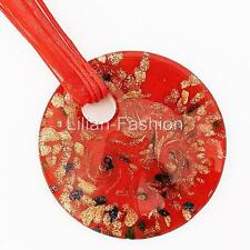 Gold Foil Red Round Lampwork Glass Murano Bead Pendant Ribbon Necklace Cord