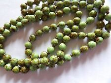 PRETTY LIME GREEN FAUX AGATE LONG GLASS BEAD NECKLACE  COPPER SEED SPACERS A21
