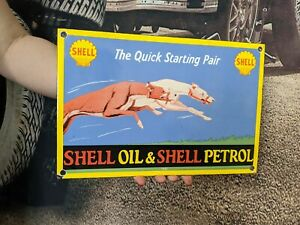 RARE OLD VINTAGE SHELL MOTOR OIL & PETROL PORCELAIN METAL GAS PUMP GASOLINE SIGN