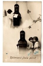 1920-s ANGEL with 2 WALL TELEPHONES  ERICSSON ?? & KIDS  ANTIQUE POSTCARD EUROPE