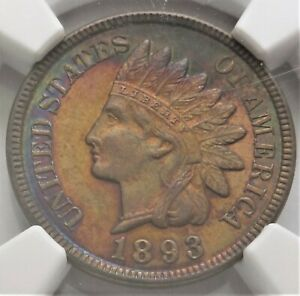 1893 1c NGC MS 63 Uncirculated UNC Rainbow Toning Toned Indian Head Cent Coin