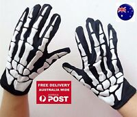 NEW Party Costume Halloween Ghost Gothic Black Skull Skeleton Bone wrist Gloves