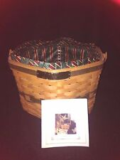 Longaberger Basket 1997 Handwoven Basket 6 Sided With Liner And Plastic Inset