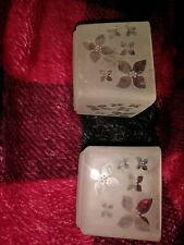 Partylite Pair frosted etched glass candle holders Flowers Floral 2