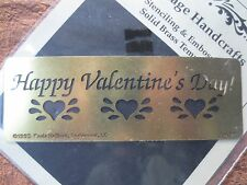 PAULA HALLINAN solid brass embossing stencil template -happy valentine's day