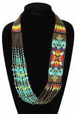 NE149-131 Star Story Classic Glass Navajo Design Necklace  Turquoise Bronze