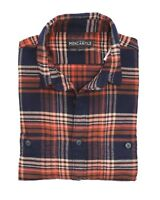 J.Crew Mercantile Mens M Slim Fit - Navy/Orange/Brown Ombre Plaid Flannel Shirt