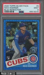 2020 Topps Silver Pack Blue Refractor #6 Nico Hoerner Cubs RC Rookie /150 PSA 9