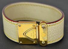 Auth LOUIS VUITTON Ivory Color Suhali Leather Koala Buckle Cuff Bracelet Bangle