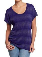 NWT Old Navy Women Metallic-Stripe Dolman Top Small Blue Shirt Blouse $19.99