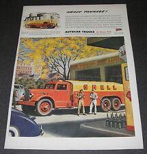 Print Ad 1945 Art Autocar Truck Heavy Tankage Shell Union Oil Tanker Gas Station