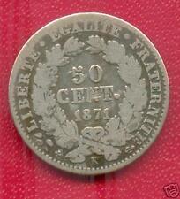 TRES RARE 50 CENTIMES CERES ARGENT DE 1871 K @ A VOIR