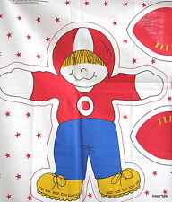 "Vintage 80s fabric panel doll pillow FOOTBALL boy & girl 15"" tall"