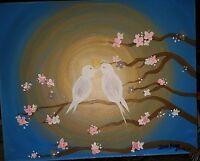 Mystery Artist Signed Love Birds in the Moonlight, Oil on Canvas, Outsider Art