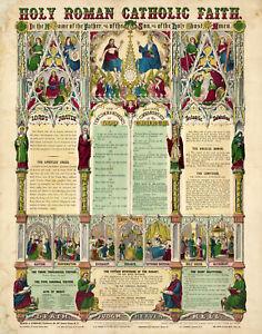 Holy Roman Catholic Faith c1870 Religious Wall Art Poster Print Decor Artwork