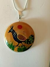 60% OFF! -WHIMSICAL VINTAGE EUROPEAN HAND-PAINTED ON WOOD PEACOCK  PENDANT.SILV