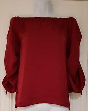 Damen Asos Bardot Top Bluse Wein geraffte Ärmel Krawatte Detail Größe 12 NEU.