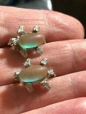 Oval Shaped Prong Set Magic Glass Vintage Gold Stone Saphiret Fly Bugs Earrings