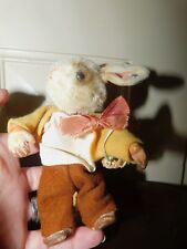 VINTAGE 1950'S STEIFF BIB RABBIT WITH BASKET