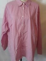 Chaps Classics Womens Top Size 3X Red White Check Button Up Long Sleeve