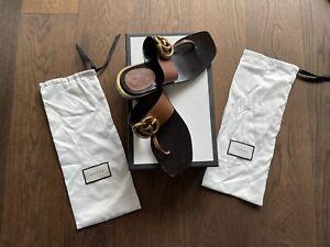 Original GUCCI Damenschuhe Sandalen Gr. 37 mit Absatz in OVP wenig getragen