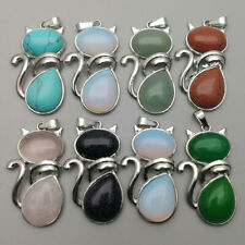 Natural stone cat alloy Necklace pendant for jewelry making wholesale 7pcs
