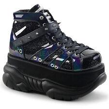 "DEMONIA NEP100/BHG Mens Gothic Punk Cyber 3"" Platform Black Ankle Boots Shoes"